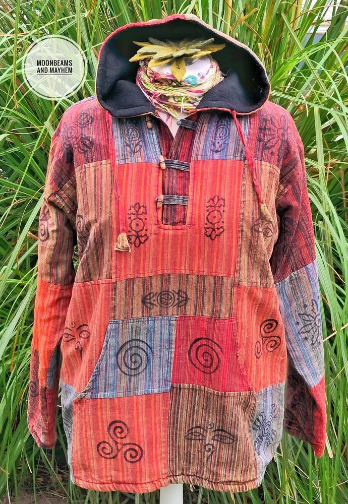 FABULOUS EARTHY HIPPIE FLEECE LINED HOODIE  UK SIZE 16  LARGE BOHO JACKET JUMPER #Unbranded