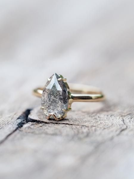 Dark Desires // Salt and Pepper diamond alternative engagement ring by Gardens of the Sun Jewelry.
