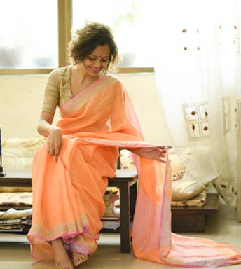 Linen Sarees - Handloom Linen- Tender Peach And Watermelon Playing Around In A Dull Gold Glass Making The Most Fresh Mocktail With A Watermelon Blouse Piece By Suta PC 19753 - Thumbnail
