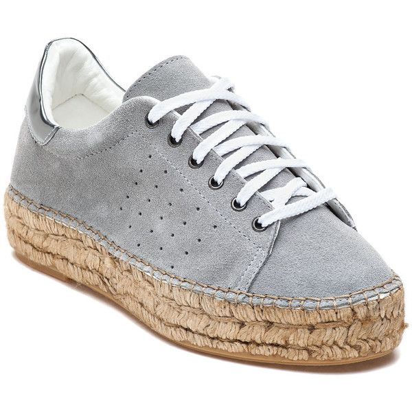 STEVEN BY STEVE MADDEN Pace Grey Suede Espadrille Sneaker (130 CAD) ❤ liked on Polyvore featuring shoes, sneakers, grey suede, lace up espadrilles, suede espadrilles, grey sneakers, espadrilles sneakers and grey espadrilles