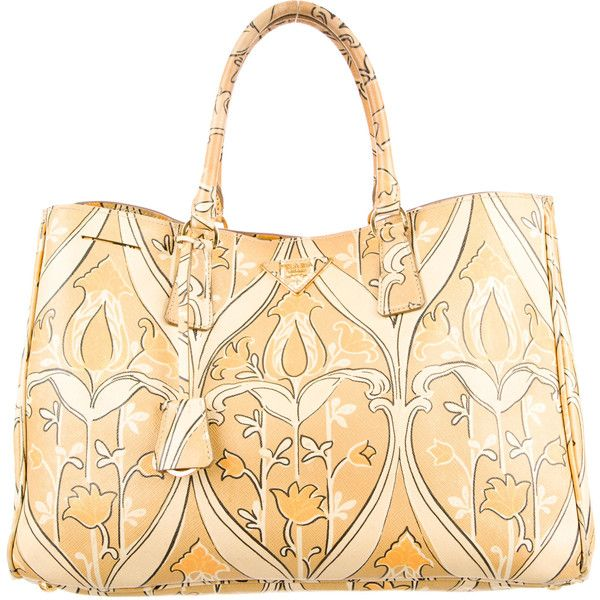 Pre-owned Prada Large Saffiano Floral Print Tote ($1,095) ❤ liked on Polyvore featuring bags, handbags, tote bags, neutrals, tote purses, prada tote bag, hand bags, zippered tote bag and purse tote