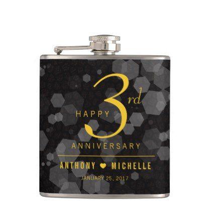 Elegant 3rd Leather Wedding Anniversary Hip Flask - anniversary gifts ideas diy celebration cyo unique