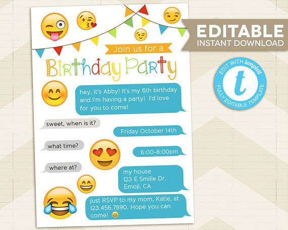 Emoji Party Invitation Iphone Birthday Digital Printable Instant Download For Girl Editable