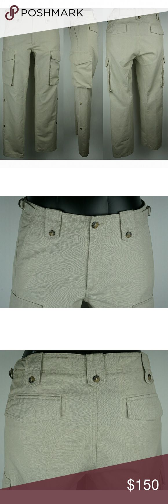 Men's Burberry Summer Cargo Pants. Beige color with zipper fly. Legs can be rolled up. Never worn but no tags. 52% Linen 48% Cotton  *Sizing--please measure jeans that fit you and compare. European designers such as Burberry, Armani, etc typically run small. sizes in inches: Waist--35 Hips  --41.5 Inseam--34 Outseam--45 Front Rise--13 Back Rise--14.25 Leg Opening--18 Material-- 52% Linen 48% Cotton Burberry Pants Cargo