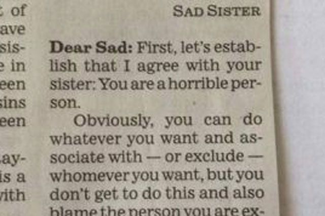 'You Are a Horrible Person' - Most Spot-On Advice Column Response Ever