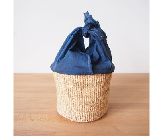 Small African Tie Basket // Kenya Kiondo Basket with Hand-Dyed Fabric // Woven Sisal Planter // Isla   – Products