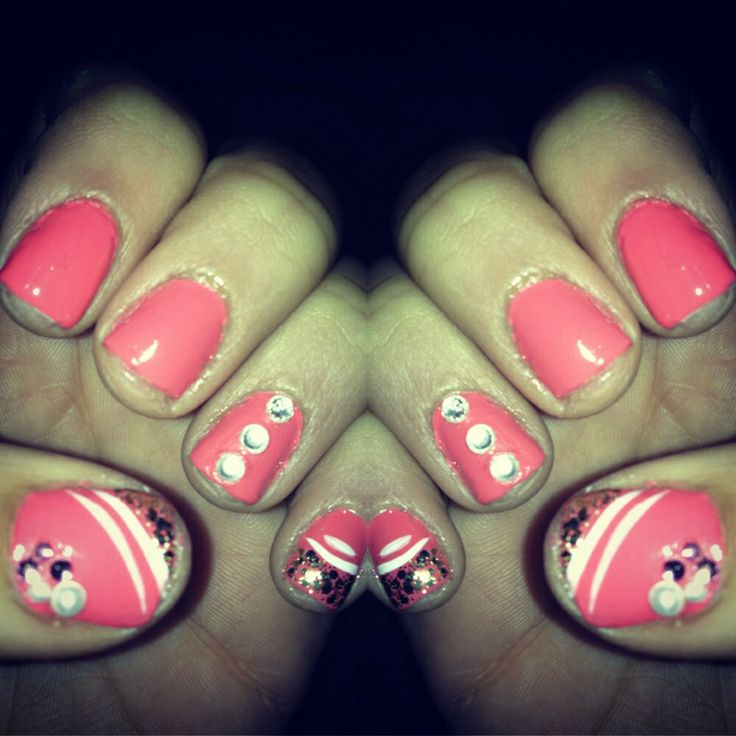 Pink with nail design and jewels