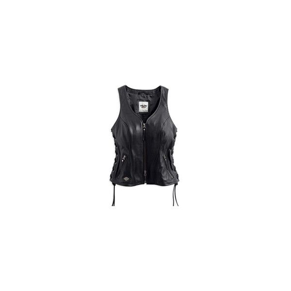 Avenue Women's Black Leather Vest ❤ liked on Polyvore featuring outerwear, vests, vest waistcoat, leather vest, leather waistcoat and genuine leather vest