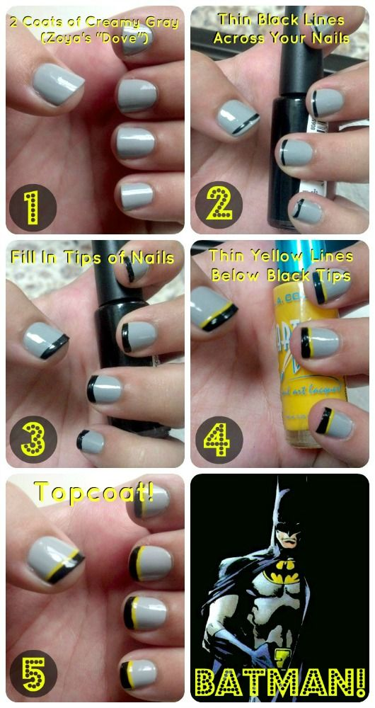 This might be the closest to Batman nails that I'll get... Idk how to do the Batman signal..