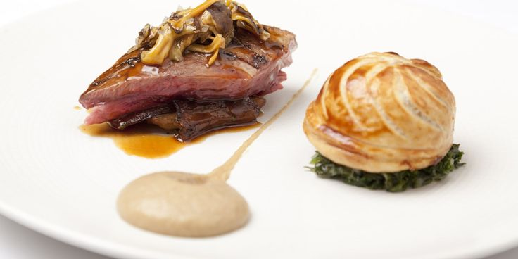 Andy McLeish roasts wood pigeon crowns and serves them alongside a pithivier of slowly braised leg in this heavenly game recipe