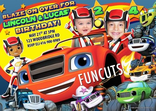 """Welcome to FunCuts Cards - Over 4500 invitations on other sites sold to date!  YOU WILL RECEIVE a 5"""" x 7"""" or 4"""" x 6"""" Blaze and the Monster Machines Invitation digital design invitation with a bonus FR"""