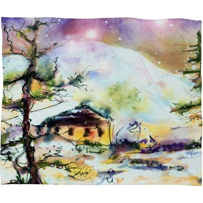 East Urban Home Cabin In The Snow Plush Fleece Throw Blanket Size: Large
