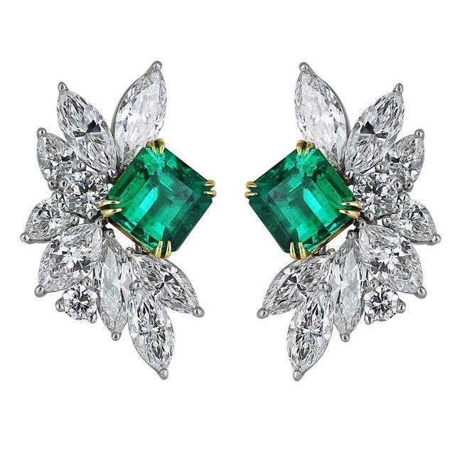 Emerald, Diamond, Platinum and 18K Gold Earrings