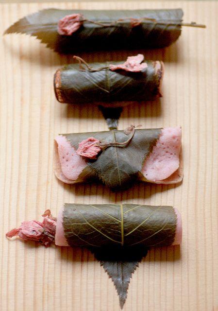 Asian food japanese sweet sakura mochi