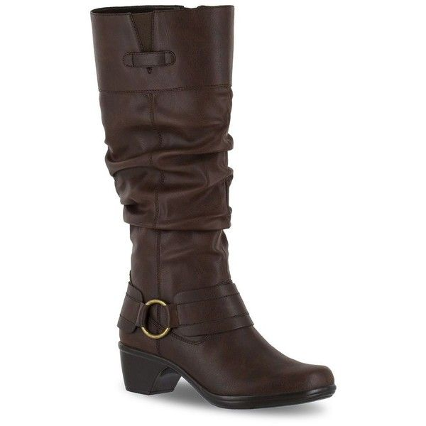 Easy Street Jayda Women's Riding Boots ($90) ❤ liked on Polyvore featuring shoes, boots, brown, harness boots, wide calf knee high boots, brown slouch boots, slouchy brown boots and wide calf boots