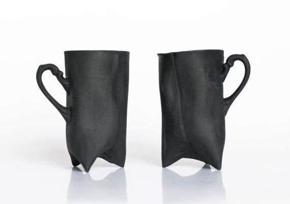Black Porcelain cups set of two  ceramic cups by ENDEsign on Etsy, $75.00