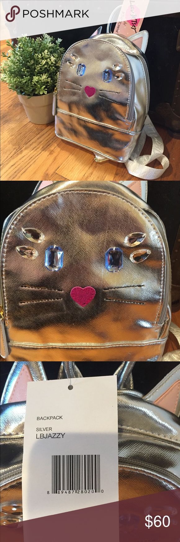 Betsey Johnson cat metallic silver backpack Adorable mini cat backpack in metallic silver! Org. $78 no flaws! New with tags! Could make a great gift! Betsey Johnson Bags Backpacks