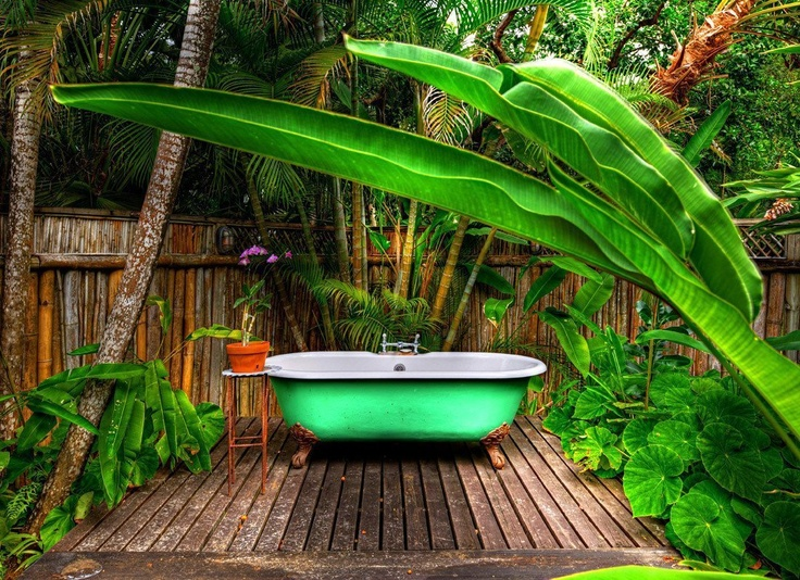 Although this is in the Caribbean, it could very well be in the south Pacific too. Bathtub at Goldeneye, Jamaica.: Jamaica, Beaches House, Golden Eye, Bathtubs, James Bond, Goldeneye, Outdoor Bathroom, Goldeney Hotels, Luxury Hotels
