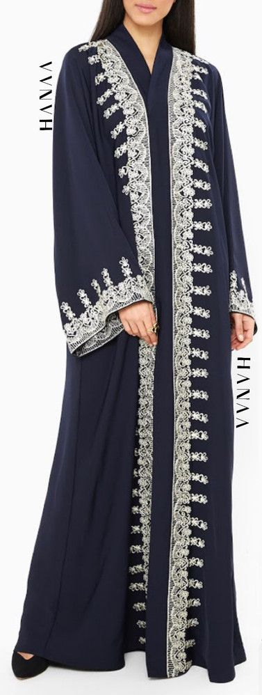 Hajrah Embroidered Open Abaya from HanaaCollection.co.uk