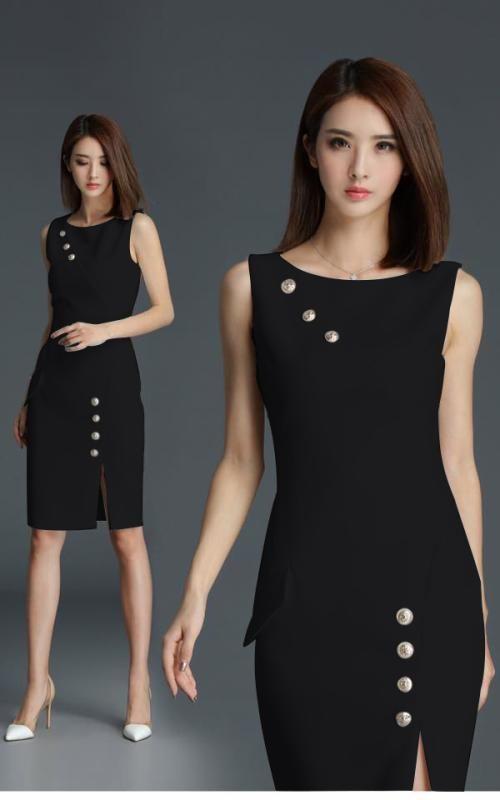 Đầm công sở đính nút xẻ tà màu đen sang trọng