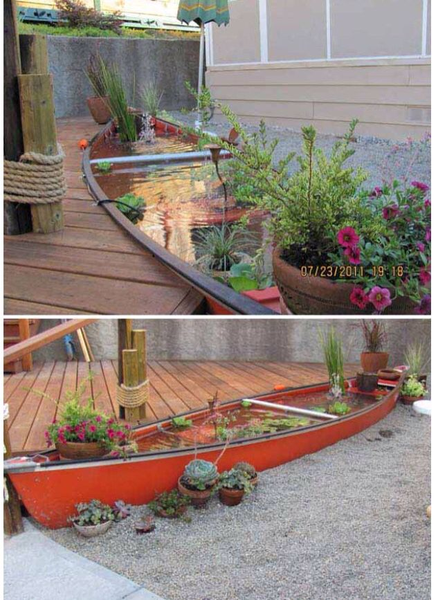 44 best boat planter images on pinterest garden ideas for Outdoor tropical fish pond