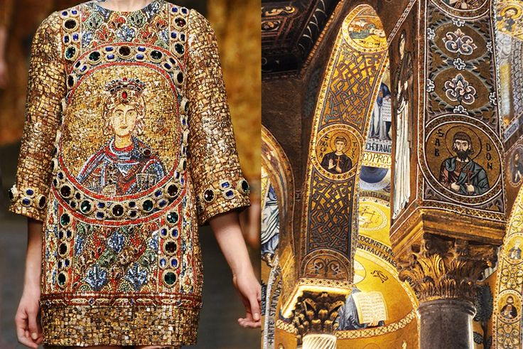 Match #181 Dolce & Gabbana Fall 2014 | Interiors of the Duomo di Monreale in Sicily, Italy More matches here