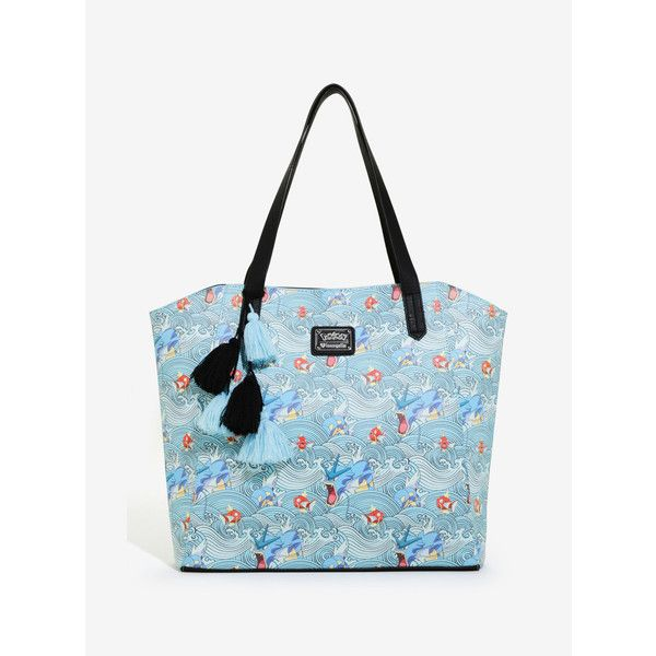Loungefly Pokemon Gyrados Tote ($70) ❤ liked on Polyvore featuring bags, handbags, tote bags, handbags tote bags, oversized handbags, tote purses, tote bag purse and blue tote handbags