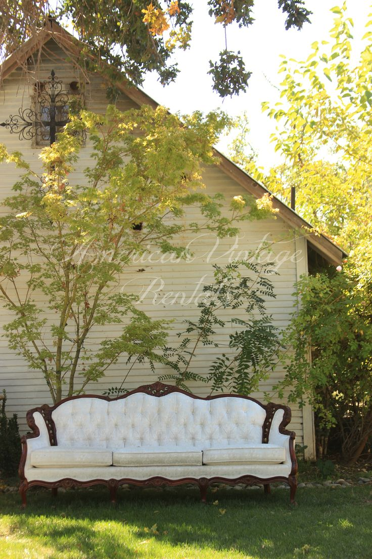 Uncategorized/outdoor vintage glam wedding rustic wedding chic - French Provincial Sofa Adds Charm To Bridal Cottage Garden Vintage Wedding Decor Use As