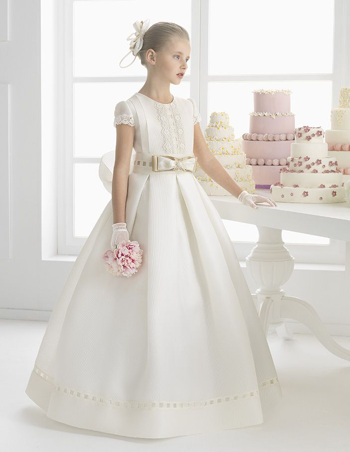 Short Sleeved Floral Lace Trimmed Bodice Ball Gown Silk Communion Dress With Bow Ribbon