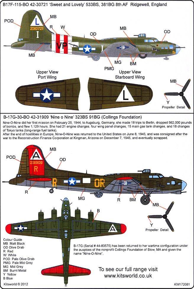 Kits World Decals 1/72 BOEING B17 FLYING FORTRESS Sweet