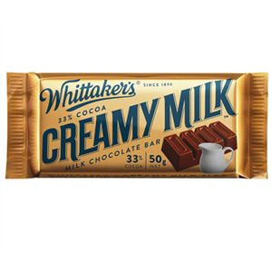 A box of 50 Whittakers Creamy Milk Slab.