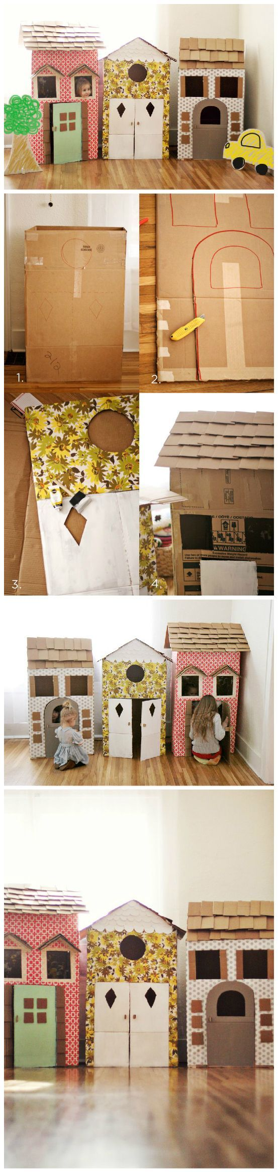 How fun is this!? DIY Cardboard Playhouses - @Elyse Exposito Exposito Exposito Exposito Woodbury Pehrson Larson of A Beautiful Mess