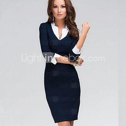 solido abito blu, fodero / vintage / lavoro collare asimmetrico ¾ manicotto delle donne - EUR €12.34