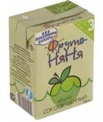 ФрутоНяня сок яблочный осветленный с 3 мес 200мл  — 26р. ------- Фруктовые соки, наряду с фруктовыми пюре, являются первыми продуктами прикорма. Поэтому к введению сока нужно относиться с особой осторожностью.  Первыми в рацион Вашего малыша следует ввести соки из одного вида фруктов, так называемые монокомпонентные.   Меры предосторожности   Хранить при температуре от 0 до 25 градусов. Упаковка &laquoТетрапак&raquo непроницаема для света и воздуха, что очень важно для сохранения витаминов…