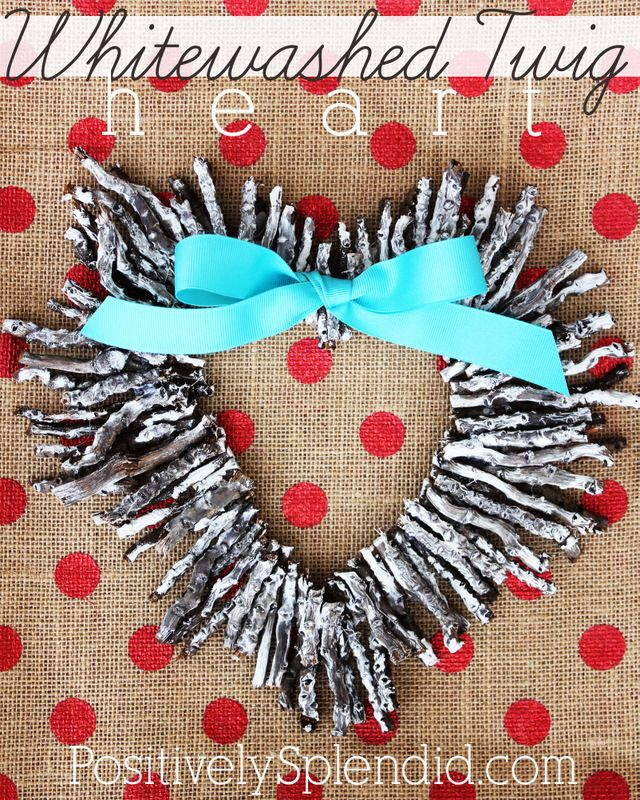 Whitewashed Twig Heart Valentine Wreath | Positively Splendid {Crafts, Sewing, Recipes and Home Decor}Whitewash Twig, Valentine'S Day, Heart Wreaths, Twig Heart, Heart Valentine, Felt Roses, Valentine Wreaths, Rose Wreaths, Crafts Diy