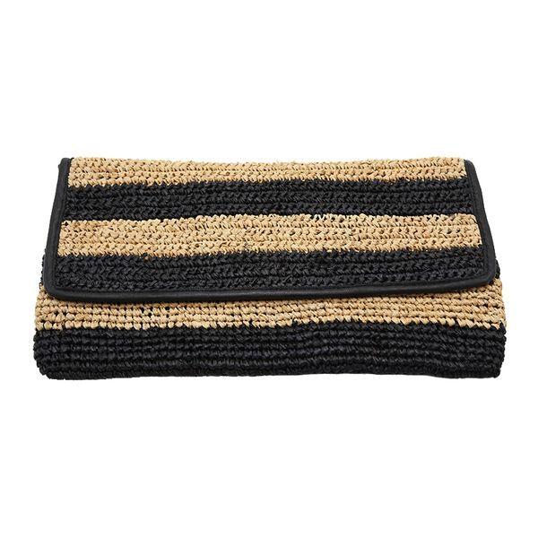 Straw striped crochet raffia clutch