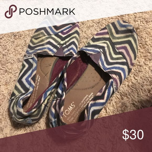 Purple and navy chevron toms These are fun to wear and super comfy! Toms Shoes