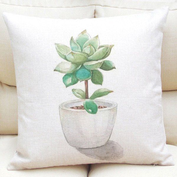 Creative Succulent Plants Bonsai Pattern Square Shape Flax Pillowcase (Without Pillow Inner) #jewelry, #women, #men, #hats, #watches