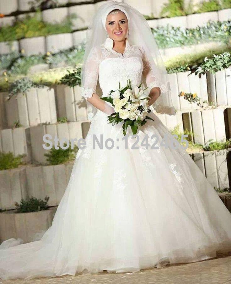 Find More Wedding Dresses Information About High Neck Vestidos De Novia Con Mangas Dubai Ball Gown