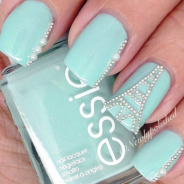 Tiffany Blue Eiffel Tower Nails With Micro-pearls.