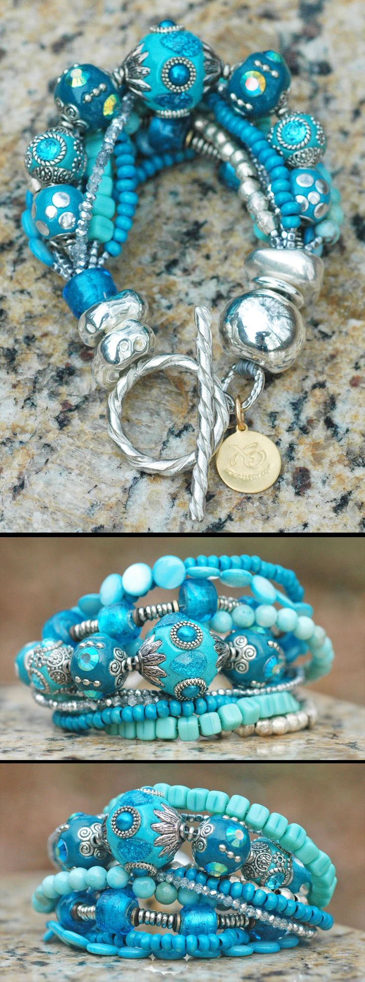 Glitz and Glam Blue and Silver Statement Bracelet