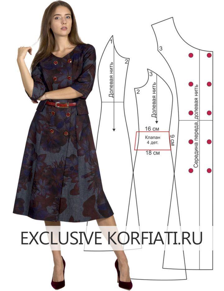 6e3480df157 Выкройка классического двубортного платья из шабри. Просматривайте этот и  другие пины на доске ШКОЛА ШИТЬЯ Анастасии Корфиати ...