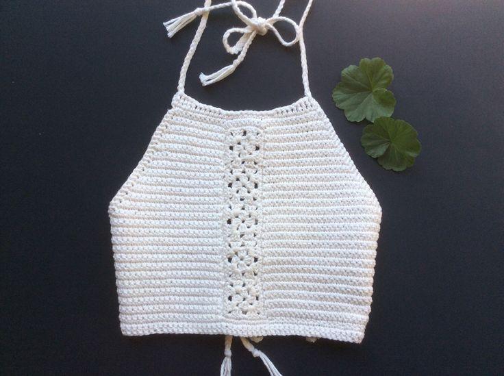 "Bohemian crochet halter ""kaya""100% cotton by favoritelittlecorner on Etsy…"