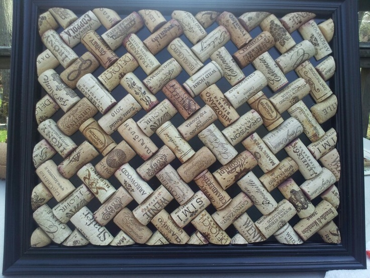 A lattice work style bulletin board made of recycled wine corks.