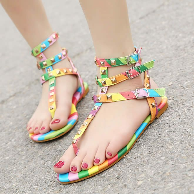 Cheap women gladiator sandals, Buy Quality rivet sandals directly from  China gladiator sandals Suppliers: New Black +Rainbow Color Summer Flat  Shoes Women ...
