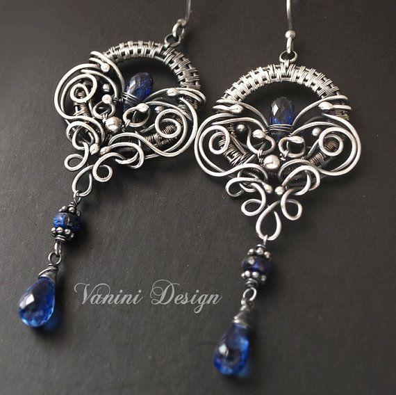 the crown silver and kyanite earrings vanini designs