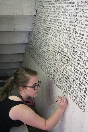 Or you could get even more oversized and cover the ENTIRE WALL with a quote. | 27 Incredibly Clever DIYs All True Book Lovers Will Appreciate