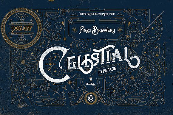Celestial Fonts & Vintage Pattern by celcius design on @creativemarket