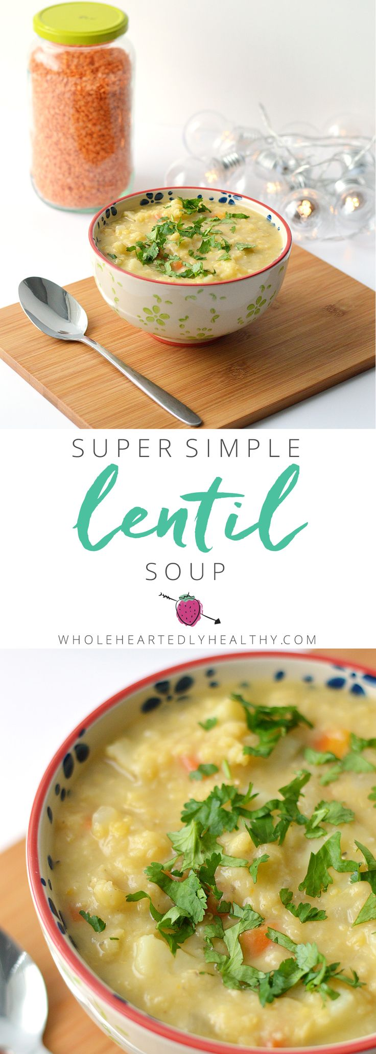 Vegan lentil soup made with only 5 ingredients! Simple delicious and nourishing soup recipe.