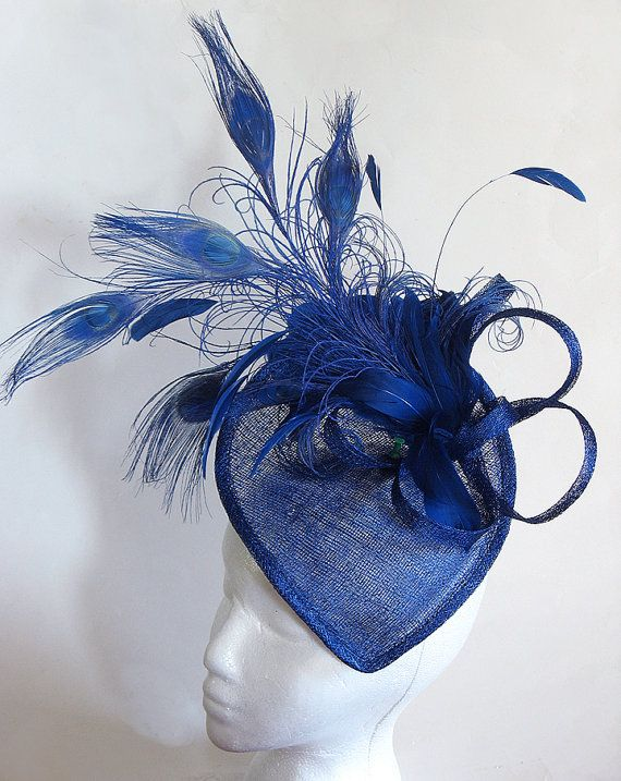 Ladies fascinator cobalt blue cocktail hat - Headpiece hat for mother of the bride - kentucky derby hat